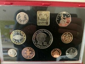 1999 ROYAL MINT DELUXE PROOF COIN COLLECTION WITH RED LEATHER CASE AND COA
