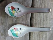 2 Chinese Japanese Export Porcelain Spoons Hand Painted Classic Lady Marked