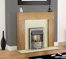 ELECTRIC OAK WOOD FIREPLACE CREAM MODERN SURROUND LED SILVER INSET ELECTRIC FIRE