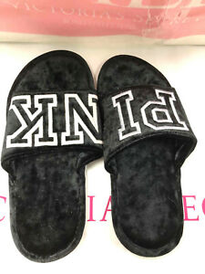 Victoria's Secret Pink Logo Velvet Slippers Black Large (9/10)