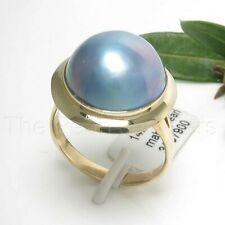 14k Solid Yellow Gold Genuine 14mm Blue Mabe Pearl Wrap Solitaire Ring TPJ