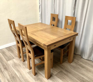 Oak Furniture Land 100% Solid Oak Extendable Dining Table & 4 Solid Oak Chairs!