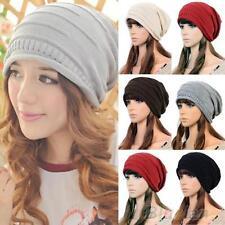 Unisex Men Womens Warm Wool Knitted Beanie Bobble Ski Hat Slouch Oversized Cap
