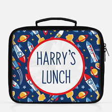 Personalised Rocket Ship Space Boys Lunch Box Lunch Cooler Sandwich School Bag 2