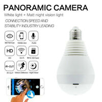 WiFi Full HD 1080P Smart 360°Panoramic Fisheye Hidden Spy Bulb Light Camera Lamp