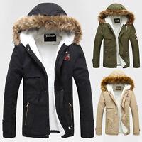 Men Slim Fashion Winter Warm Thicken Fur Hooded Coat Parka Outwear Jackets Tops