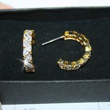 Trillion Cut Diamond Alternatives Semi Hoop Earrings 14k Yellow Gold over Base