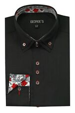 Men's Button Down Double Collar Dress Shirt #610 Cotton Blend Solid