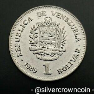 Venezuela 1 Bolivar 1989(w). Y#52a.1. One Dollar coin. Germany mint. Small Date.