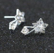 Rhinestone shooting star Earrings Women Alloy crystal Studs gift pair silver