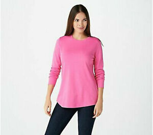 Isaac Mizrahi Live! Essentials Pima Cotton Crew Neck Knit Top Pink Size 2X