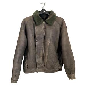 Vintage Aviator Flight Grey Leather Sheepskin Shearling Bomber Biker Jacket Coat