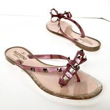 0a48ac347 NIB Valentino Rockstud Bow Jelly Metallic Flip Flops Pink 36