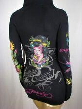 Ed Hardy Hoody Sweater Black Geisha Rhinestone Hoodie, S, Small