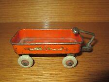 Vintage Miniature Radio Flyer Toy Metal Reddish Orange Wagon