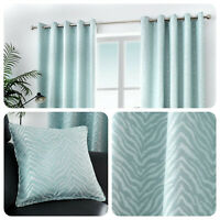 Curtina AFRICA Duck Egg Animal Stripe Lined Eyelet Curtains & Cushions
