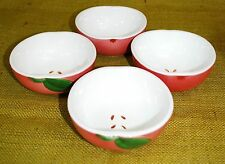 SET OF 4 - Apple Shaped Small Ceramic Bowls - Appetizers/Dip/Nuts/Cereal/Fruit