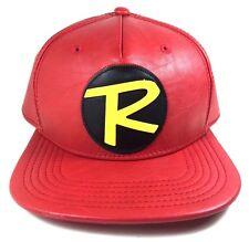 DC COMICS ROBIN LOGO RED FAUX LEATHER PU COSTUME SUIT UP SNAPBACK HAT CAP BATMAN