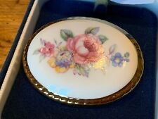 Aynsley Fine Bone China Brooch Floral with Gilded Edge In Original Box