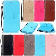 For samsung phone PU leather wallet cover stand flip folios card holder+strap