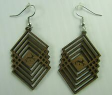 NEW geometric wooden earrings Western red alder Made in Pacific Northwest