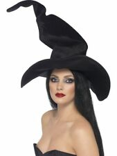 Halloween Fancy Dress Ladies Witch Hat Tall & Twisty Black by Smiffys