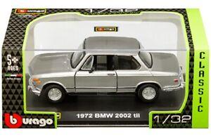 BBURAGO DIE CAST METAL 1972 BMW 2002 TII MODEL CAR - 18-43202 REPLICA CAR RETRO