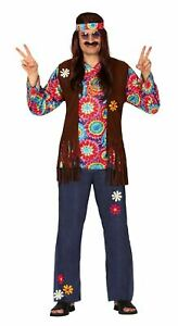 Mens Psychedelic Hippie Costume Hippy 60s 70s Groovy Retro Fancy Dress Outfit