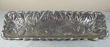 "Arthur Court 1990 Oblong Bunny Rabbit / Cabbage Leaves Tray 19"" x 6"" Aluminium"