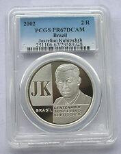 Brazil 2002 Juscelino PCGS PR67 2 Reais Silver Coin,Proof