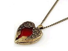 Pendentif vintage Collier coeur rouge et ailes d'anges antique bronze red heart