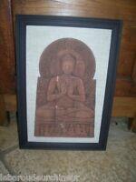 ancien tableau en terre cuite bas relief  asie