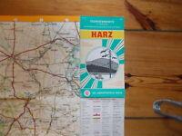 alte Touristenkarte Harz  DDR VEB Landkartenverlag Berlin 1968