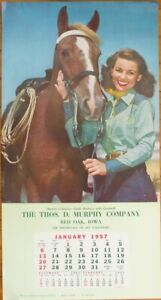 Pinup Cowgirl 1957 13x24 Poster/Advertising Calendar-Woman & Horse -Lasso Lassie