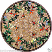 "24"" Marble Coffee Round Table Top Marquetry Arts Inlay Floral Work Decors H1995"