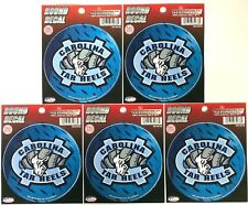 """Lot of 6 Officially Licensed 4 1/2"""" round decals North Carolina Tar Heels"""