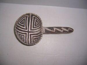 "Pre-Columbian Anasazi Black on White Pottery Ladle 9"" x 4 11/16"" x 2"":"