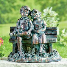 Patio Garden Decorative Figurine.Kids on Bench with Kitty.Weathered Bronze Look