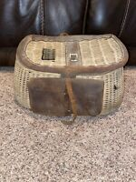 Vintage Fly Fishing Creel Leather Wicker Basket With Leather Strap
