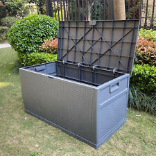 More details for indoor/outdoor rattan weave effect garden storage box plastic cushion box 460l