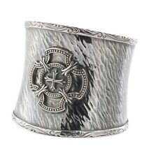 Scott Kay 60mm Wide Sterling Silver Cross Hammered Cuff Bracelet ~76g NWT
