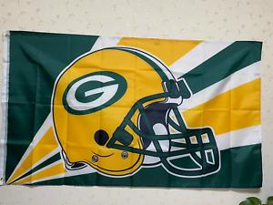 Green Bay Packers Helmet Lighting Flag 3X5 FT NFL Banner Polyester