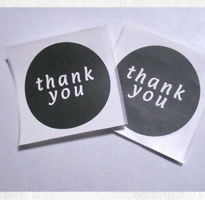 Sticker Decal 61x61mm B/W 'thank you' Qty 10, 20, 50 or 100