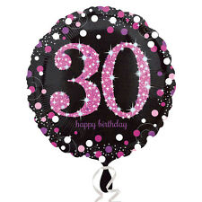 30th Happy Birthday Foil Balloon Black & Pink Party Decorations Age 30
