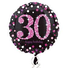 30th Joyeux Anniversaire Ballons Métalliques Noir & Rose Décoration de Fête
