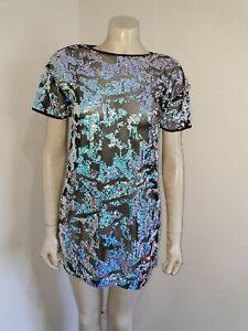 Short Sleeve Sheer Black Netting Purple Blue Sequin Mini Dress Size 10 ?