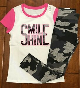 NWT JUSTICE GIRLS Sz 8  or 10  OUTFIT~GRAPHIC RINGER TEE /CAMO PATTERN LEGGINGS