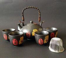 Japanese Ceramic Maneki Neko Lucky Cat Tea Set for Rich Health Fortune Longevity