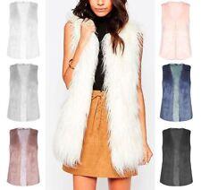 Hip Length Faux Fur Patternless Waistcoats for Women