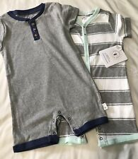 Burt's Bees Baby Boy's Ser Of 2 Organic Cotton Rompers 24 Months NWT
